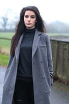 black Zara boots - silver asos coat - black Zara jeans
