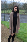 Black-zara-boots-black-uniqlo-dress-light-brown-asos-blazer