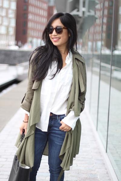 Line & Dot coat - zeroUV sunglasses - Mango blouse - Boohoo heels