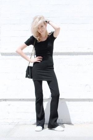 black knit SANDRO top - black flares SANDRO leggings - black vintage Chanel bag