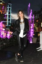 black leather jacket Marlboro jacket - black faux leather Zara leggings