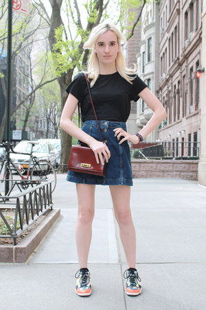 maroon vintage Hermes bag - blue denim skirt Topshop skirt