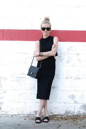 black cut out Topshop dress - black vintage bag Chanel bag