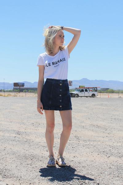 blue denim Topshop skirt - white graphic tee Forever 21 t-shirt