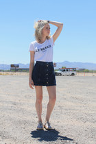 blue denim Topshop skirt - white graphic tee Forever 21 t-shirt