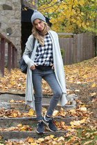 black checkered SANDRO sweater - charcoal gray skinny jeans Kill City jeans