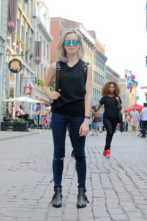 aquamarine mirrored Polette sunglasses - dark gray ankle boots Matisse boots