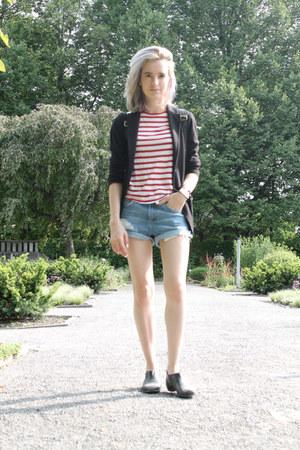 sky blue denim Topshop shorts - black leather H&M boots - black Uniqlo blazer