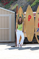 white loose Zara pants - yellow Chloe shirt - white jelly Jeffrey Campbell flats