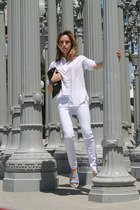 white white Aqua jeans - white button down Uniqlo shirt