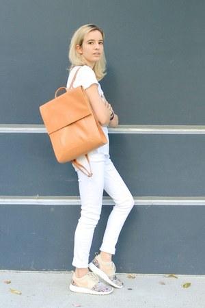 tawny backpack Radley bag - white J Brand jeans - white t-shirt Forever 21 shirt