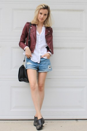 black ankle boots H&M shoes - maroon faux leather Almost Famous jacket