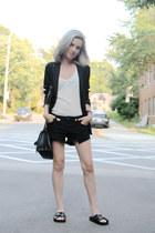 black denim shorts Aritzia shorts - black Uniqlo blazer - black Zara bag
