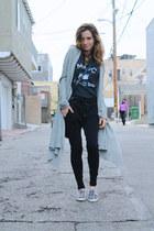 black messenger Zara bag - black sweats Zara pants