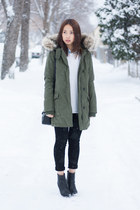community jacket - Rag and Bone boots - JBrand jeans - wilfred sweater