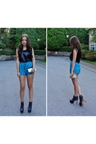 tribal print 9 shorts - Zara top - leather heels Jeffrey Campbell heels