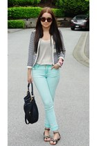 striped Mango jacket - blue jeans Topshop jeans - black leather Marc Jacobs bag