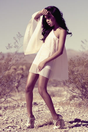 pink pleated chiffon Topshop dress - beige Le Mei Tian shoes