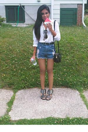 white H&M shirt - blue rexgirl shorts - black Mandee shoes - black vintage purse