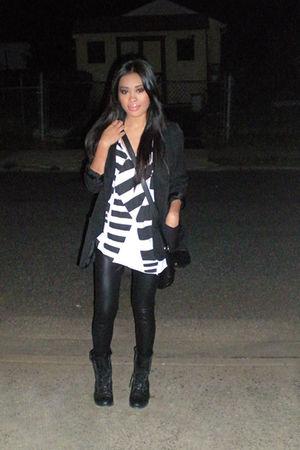 black Topshop blazer - black tights - white asos shirt - black boots