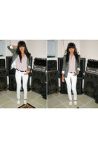 white Wet Seal jeans - beige Forever21 blouse - green H&M blazer - white Jeffrey