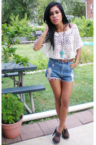 blue rexgirl shorts - beige Forever 21 shirt - brown shoes