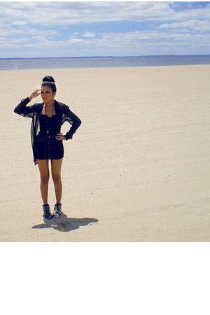 black vintage top - black Forever21 skirt - black H&M blouse - black Betsey John