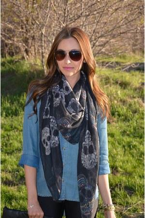 skulls Zara scarf - biker Steve Madden boots - aviator Michael Kors sunglasses