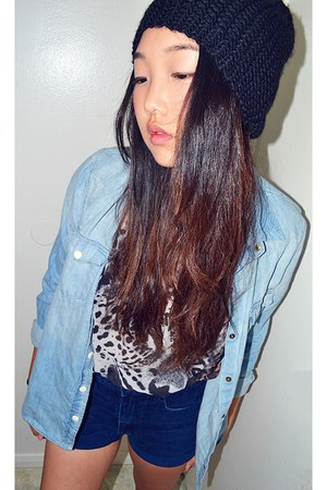 leopard t-shirt - knit beanie hat - chambray shirt Forever 21 shirt - shorts