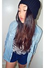 Knit-beanie-hat-chambray-shirt-forever-21-shirt-shorts-leopard-t-shirt