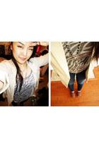 navy jeans - beige H&M blazer - black cross Forever21 necklace - black made by m