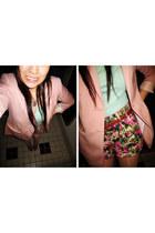 light pink H&M blazer - outlet shorts - aquamarine top - brown Steve Madden heel