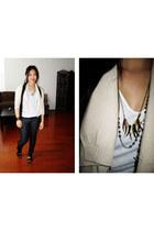 dark gray leggings - beige cardigan - black napolian vest - made by me necklace