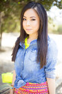 Hot-pink-hello-kitty-macys-dress-blue-denim-vintage-forever-21-shirt