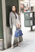 white Michael Stars shirt - heather gray Bleulab jeans - gray Vaunt jacket