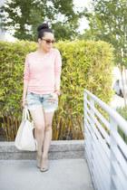 peach shoplately necklace - cream fredericks of hollywood bag