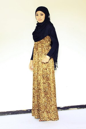 animal print Design By My Sister dress - black unbranded scarf
