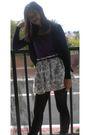 Purple-top-black-belt-skirt-black-tights-black-cardigan