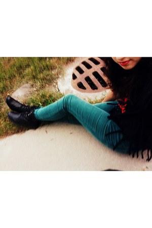 black H&M boots - black t-shirt - teal corduroy BDG pants