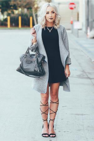 silver long coat Sheinside coat