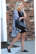 black t-shirt dress Angl dress - sky blue kimono TJ Maxx cardigan