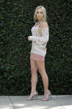 pink bodycon Forever 21 dress - beige loose Nordstrom sweater