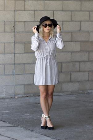 beige khaki castro dress - black ankle strap castro heels
