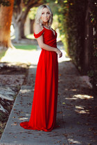 red chiffon Sheinside dress
