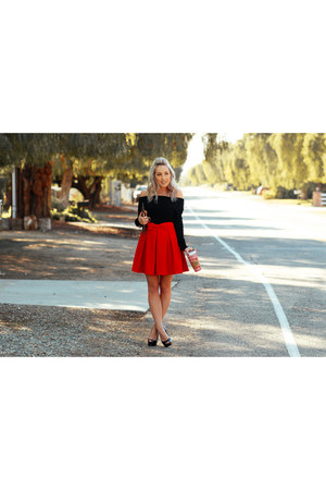 red pleated skirt Chicwish skirt