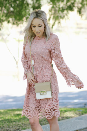 light pink lace shein dress