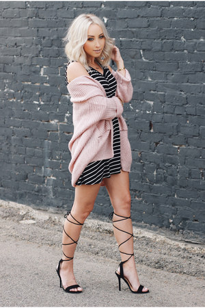 light pink cardigan Mossimo sweater - black stripes madewell dress