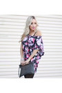 Magenta-tunic-cotton-on-top-gray-felt-lauren-conrad-heels