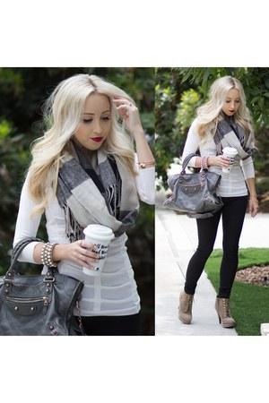 heather gray plaid Sheinside scarf - charcoal gray leather bag balenciaga bag