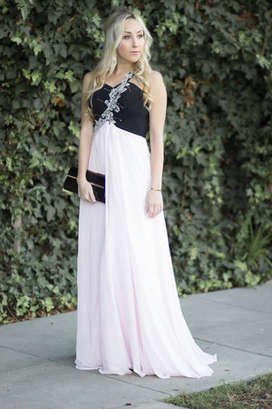 light pink long promtimes dress
